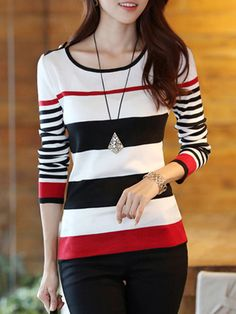 Casual Scoop Neck Striped Color Block Long Sleeve Sweater For Women Casual Winter Outfits, Trendy Outfits, Fashion Outfits, Fashion Women, Trendy Fashion, Latest Fashion, Mode Online, Color Block Sweater, Long Sleeve Sweater
