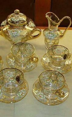 Enameled Venetian Glass Tea Set from Murano Vintage Tea, Vintage China, Tea Cup Set, Tea Cup Saucer, Tea Service, Dinner Sets, Drinking Tea, Decoration, Tea Time