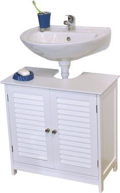 Bath Under Sink Storage Vanity Cabinet FLORENCE Louvre White