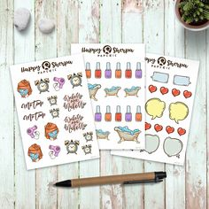 MeTime stickers 3 sheets for Happy Planner and Erin Permanent Marker, Little My, Erin Condren, Gel Pens, Happy Planner, Some Fun, Planner Stickers, No Time For Me, Paper