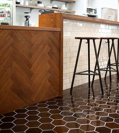 Like the tiles and stools and floor