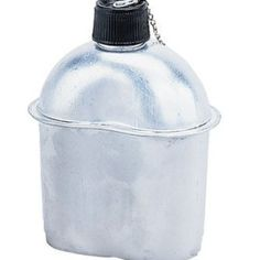 Screw-on Top With Safety Chain.style canteen is made of heavy gauge aluminum, features a screw-on-top complete with a safety chain. Camping Tools, Camping Stove, Camping Survival, Survival Gear, Camper Awnings, Go Bags, Screw Caps, Boynton Beach, Canteen