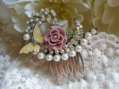VICTORIAN GARDEN Hair Comb for the by thesparklingsparrow on Etsy, $48.00