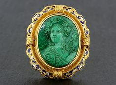 Antique Cameo Brooch - French 19th Century Malachite Cameo Brooch 18ct Gold & Enamel