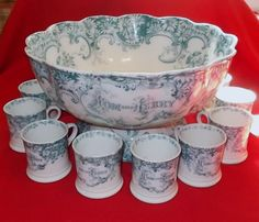 Antique Victorian Christmas Staffordshire Tom and Jerry Punch Bowl 10 Cups |