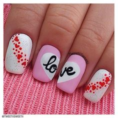 "We ❤ this: From the perfect script to the use of hearts, tweetiisweetii has ""nailed"" this look!  Show us your best Valentine's Day nails—and they could be featured on our Pinterest and Instagram! Tag a pic of your most romantic mani with #SephoraVday"