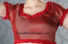 blouse designs for cocktail sarees Modern Blouse Designs, Patch Work Blouse Designs, Stylish Blouse Design, Fancy Blouse Designs, Bridal Blouse Designs, Blouse Neck Designs, Dress Designs, Designer Blouse Patterns, Kurti Patterns