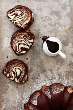 Zebra bundt cake with step-by-step photo tutorial.