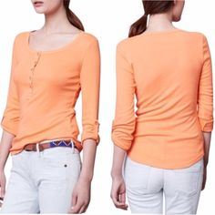 Anthropologie Splendid Orange Henley Brand new with tag! Tiny snag noted and picture in picture 4. Super soft and adorable sherbet color Henley! Sold through Anthro and impossible to find! Make me an offer!! Anthropologie Tops Tees - Long Sleeve