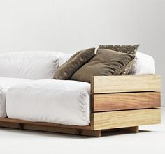 Pallet Furniture I think make this with a twin mattress like on the Brady bunch for the den