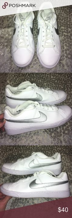 Women's white Nike shoes Women's white Nike gym shoes! Like new worn 2 times, A little dirty on the bottom is all!size 7! Nike Shoes Sneakers
