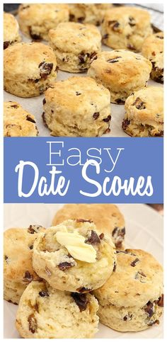 Easy Date Scones - moist, fluffy date scones. No need to rub the butter into the flour, just a quick mix and they're done! Also egg free! easy breakfast ideas for kids Kids Cooking Recipes, Easy Cooking, Baking Recipes, Healthy Recipes, Scone Recipes, Egg Free Recipes, Cooking Light, Healthy Cooking, Healthy Snacks
