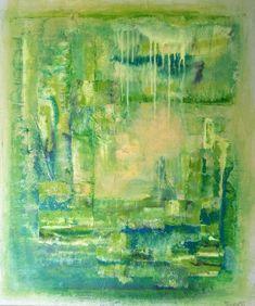 Den indre natur 60x50 cm.Akryl på lerret. Bildet går i fargene: Lys korngul, lys lime, mosegul, limegrønn, grønn, petrol, sotsvart.  For å se detaljer eller strukturer osv. i maleriet, kan du klikke opp bildetog bevege musepekeren over bildet. Norway, Diy And Crafts, Abstract Art, Painting, Abstract, Nature, Photo Illustration, Painting Art, Paintings
