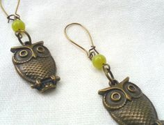 Fancy Owl Earrings with Vintage Green by PalindromeCircus on Etsy, $25.00