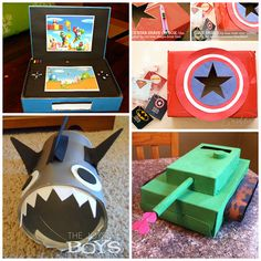 Here are a bunch of valentine boxes that boys will love! Find captain america, sharks, tanks, video games, legos, ninjas and more card holders!