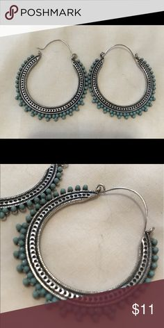Blue Turquoise Coachella-look Hoops Never worn. Very easy to wear, light. Very on trend with boho chic/Coachella style. Jewelry Earrings