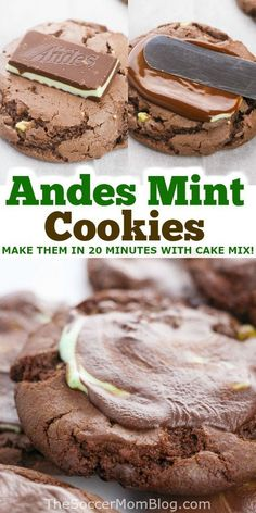 This delicious Andes chocolate mint cookies recipe from the Soccer Mom Blog are amazing! The Andes mints melt down so that some of them soak into the cookies themselves, and they form a layer of rich chocolate mint frosting on top. It's ooey-gooey and SO amazing! Try making this dessert for your friends and family today! Andes Mint Cookies, Mint Chocolate Chip Cookies, Thin Mint Cookies, Chocolate Cake Mixes, Homemade Desserts, Fun Desserts, Delicious Desserts, Dessert Recipes, Yummy Food