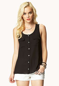 Buttoned Georgette Top | FOREVER 21 - 2051802666