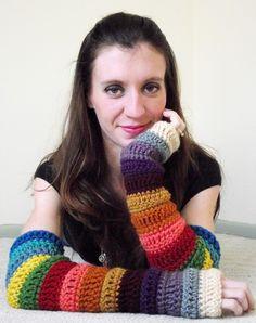 Items similar to Bohemian Arm Warmers - Crochet Fingerless Gloves - Christmas Gift on Etsy Crochet Mittens, Fingerless Mittens, Crochet Gloves, Diy Crochet, Hand Crochet, Crochet Pattern, Crochet Wrist Warmers, Hand Warmers, Rainbow Crochet