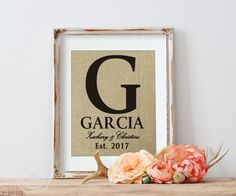 Personalized Burlap Wedding Print Personalized Gift by KNOTnNEST