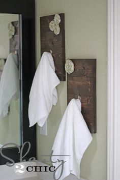 diy bathroom hooks! i love these, and they are super easy, so they are a contender for my bathroom re-do!  shanty-2-chic.com...kids bathroom except with their first name initial instead of flower.