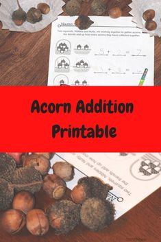 Acorn Addition kindergarten printable math activity for fall Kids Learning Activities, Hands On Activities, Kindergarten Activities, Classroom Activities, Fun Learning, Teaching Resources, Teaching Ideas, Classroom Ideas, Teaching Calendar
