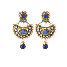 Perfect look Blue, White & Gold Earrings