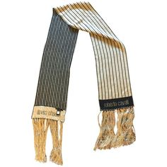 Pre-owned scarf (125 AUD) ❤ liked on Polyvore featuring accessories, scarves, gold, fringe shawl, long shawl, long scarves, blue shawl and fringe scarves