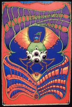 Original concert poster for Widespread Panic at the Warfield, SF. 1999.  13x19 inches on card stock.  Artwork by by Dave Huckins.