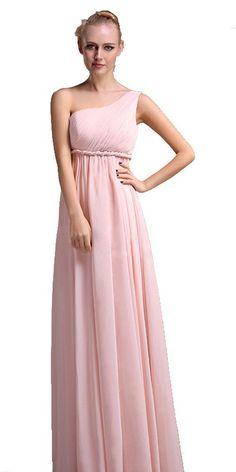 130.00$  Buy here - http://viafu.justgood.pw/vig/item.php?t=4yjzk9t40976 - One Shoulder Grecian Goddess Pink Long Prom Dresses Bridesmaid Dresses (US 8)