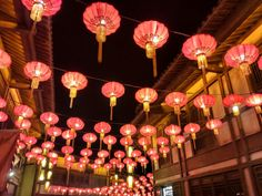 Lanterns above a Changzhou culture theme park