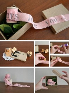 simple and sweet: a message stamped on a strip of fabric and rolled around a spool