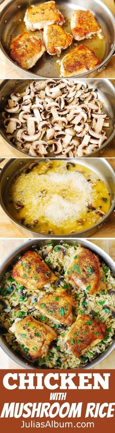 One-Pan Chicken Thighs with Mushroom Rice - dark meat on top of flavorful rice! One-Pan Chicken Thighs with Mushroom Rice - dark meat on top of flavorful rice! One Pot Meals, Easy Meals, Chicken Thighs Mushrooms, Chicken Mushroom Rice, Chicken Breasts, One Pan Chicken, Gula, Le Diner, Chicken Recipes