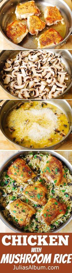 Chicken Thighs with Mushroom Rice