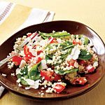 Quinoa with Roasted Garlic, Tomatoes, and Spinach Recipe | MyRecipes.com double the spinach and tomato