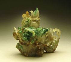 Lidded Vase (Ping) with Birds and Flowers, China, Late Qing dynasty, about 1800-1911, Abraded jade