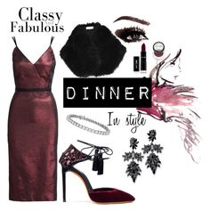 """""""#30 dinner in style: burgundy midi dress"""" by ruby-darke on Polyvore featuring Cinq à Sept, River Island, Santoni, Fallon and Blue Nile"""