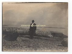Antique Vintage Photograph~Man~Suit~Outside~Water~Logs~Rocks~Male~June 1914