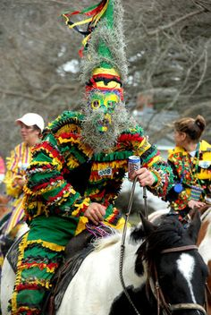 It's Cajun Mardi Gras: In small towns , the riders wake up early, get into fabulous costumes, and join parade-style groups which stop at houses for gumbo.