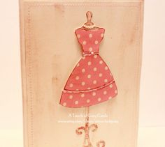 Retro Pink Polka Dot Dress - Handmade Card for Mother's Day