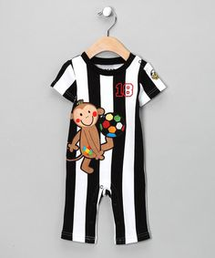 Black Stripe Monkey Soccer Playsuit - Infant #zulily #zulilyfinds