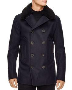 P/&E Mens Padded Button Lapel Neck Plaid Pocket Wool-Blend Pea Coat Jacket