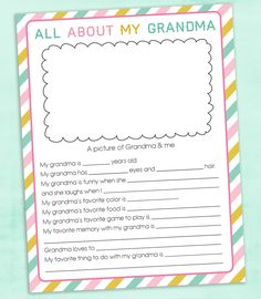 FREE Mother's Day Questionnaire Printable for mom and grandma. It's the perfect gift for kids and grandkids to gift because it's personalized and treasured by a Mother's Day For Grandma, Grandmas Mothers Day Gifts, Birthday Gifts For Grandma, Birthday Cards For Mom, Mothers Day Crafts For Kids, Diy Gifts For Kids, Mom Day, Mothers Day Cards, Diy For Kids