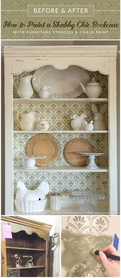 How to Paint a Shabby Chic Bookcase with Furniture Stencils & Chalk Paint - Easy and Affordable Tutorial - Rustic Farmhouse Shabby Chic Kitchen Decor Idea