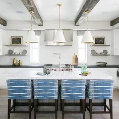 White and Gold Island Pendants, Transitional, Kitchen