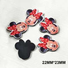 50pcs 22*23MM Big Hair Bow Cartoon Mouse Flat Back Resins Black Color Cartoon Planar Resin DIY Craft For Home Decoration DL-25