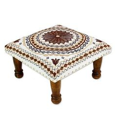 Brown and Off White Cotton Embroidered Foot Stool - Topaz Mandala   NOVICA