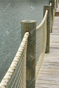 Boardwalk with Rope Railing - posts are too big but the concept without the nett. Boardwalk with R Rope Fence, Rope Railing, Deck Railings, Lake Dock, Boat Dock, Lake Landscaping, Outdoor Seating, Outdoor Decor, Seaside Garden