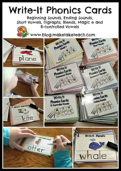 Write It Phonics Cards for beginning sounds, ending sounds, short vowels, blends, digraphs and more!  Laminate and use over and over again!