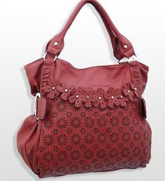 Red Fashion Purse with Flower Accents